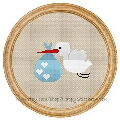 Cross Stitch Pattern PDF stork baby DD0042