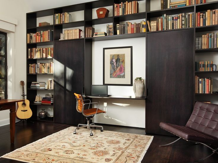 Desk Wall Units Home Office Contemporary with Bookshelves Brown Leather Side
