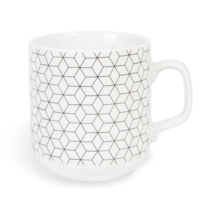 Mug en porcelaine GRAPHIQUE   - Vendu par 2