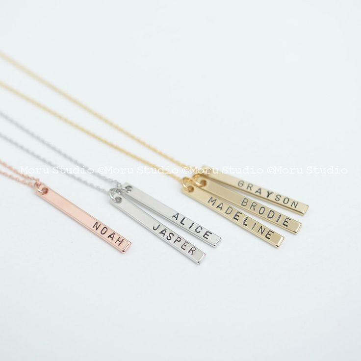 #verticalbar #barnecklace #namebarnecklace #MommyNecklace #BabyNameNecklace  #kidsnamenecklace #GrandmaNecklace #giftforgrandma #goldbarnecklace