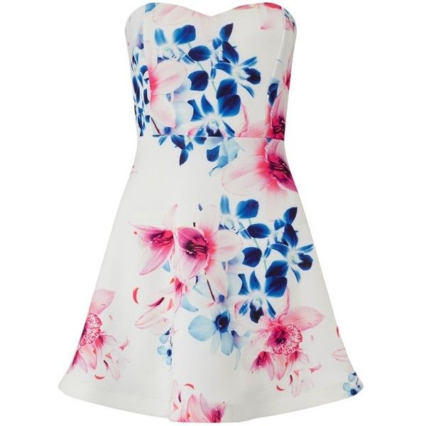 Ariana Grande For Lipsy Floral Bandeau Prom Dress (€57) ❤ liked on Polyvore featuring dresses, white prom dresses, flower print dress, bandeau dress, floral pattern dress and white floral print dress