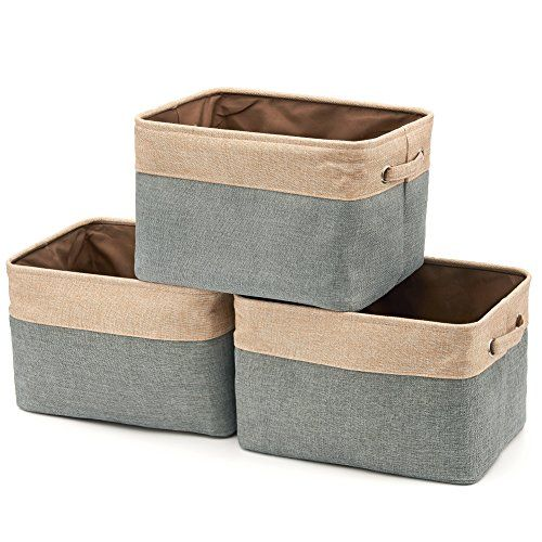 Collapsible Storage Bin Basket [3-Pack] EZOWare Foldable Canvas Fabric Tweed Storage Cube Bin Set With Handles - Brown / Gray For Home Office Closet - EZOWare Storage Boxes, Bins, and Baskets provide a simple and fashionable solution to today's office, home, or dorm space and storage needs. A better solution to keep closets, shelves, open space, and tables tidy and organized. This set of bins offers multi-purpose organization while complementin...