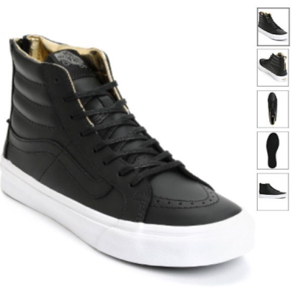Vans Hi sk8-hi slim black leather sneakers Only wore a handful of times. Really chic sneakers. Looks amazing with skinny jeans and skirts. Vans Shoes Sneakers