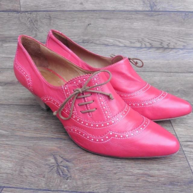 SIZE EUR 42 HOBBS NW3 BRIGHT RED LEATHER POINTED BROGUE LACE UP COURT SHOES | eBay