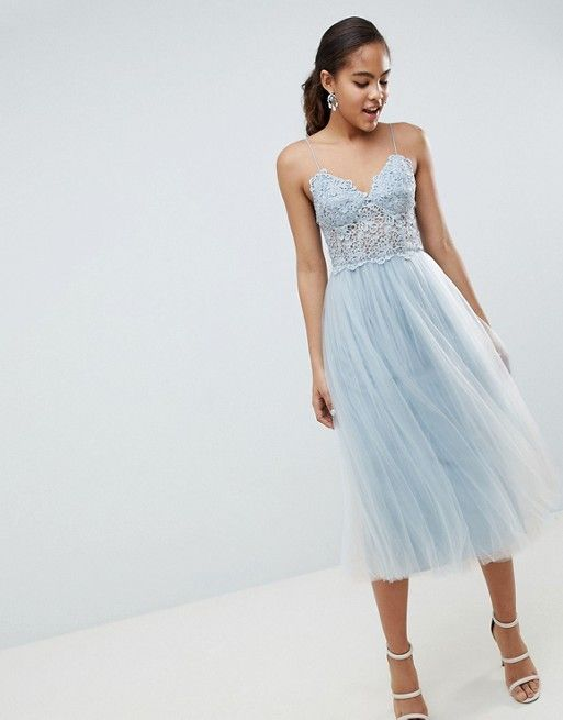 d058ae3141e3e ASOS Tall | ASOS DESIGN Tall premium lace cami top tulle midi dress ...