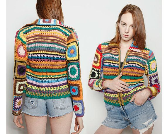 Vintage 1990s Grunge Crochet Rainbow Zip Front Patchwork Sweater Jacket Knit Granny Square M on Etsy, $48.00