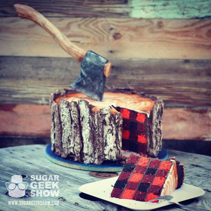 Learn how to make this amazingly awesome lumberjack themed cake with suspended axe and plaid cake on the inside! Crazy cool!