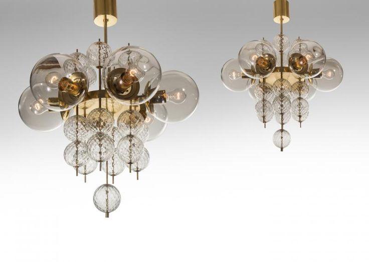 Kamenicky Senov - A Pair of Czech Brass and Hand-Blown Glass Chandeliers
