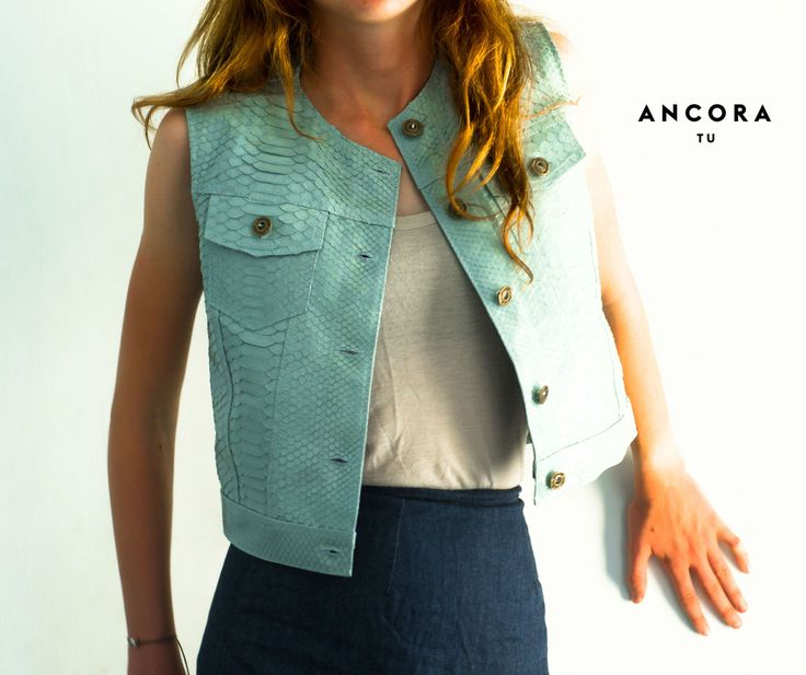IN STOCK SIZE S.  Leather Vest. Genuine leather Vest.  Light Blue  Biker Jacket. Python leather vest. Soft leather jacket. by StudioANTU on Etsy