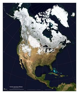 "Satellite Map North America with Snow Cover - 18"" x 22"" Giclee Print Only #newportgeographicmaps #maps #newportgeographic"