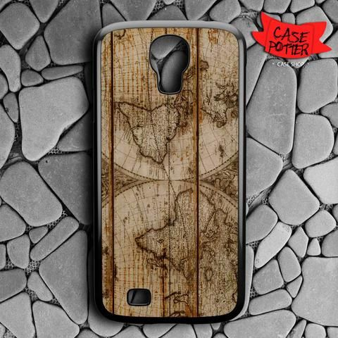 Old World Map Wood Samsung Galaxy S4 Black Case
