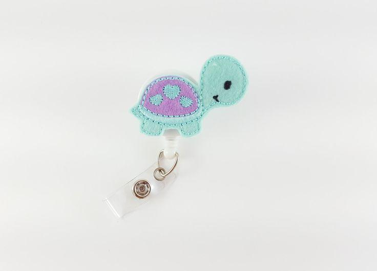 Baby Turtle - Felt Badge Reel - RN Badge Reel - Nurse Badge Holder - Retractable Badge Pull - Teacher Badge Clip - Pediatric ID Badge by SimplyReelDesigns on Etsy