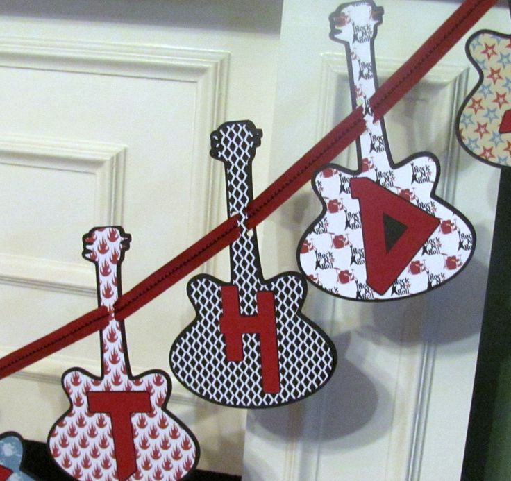 Rock Star Personalized Birthday Banner featuring Guitar Heroes