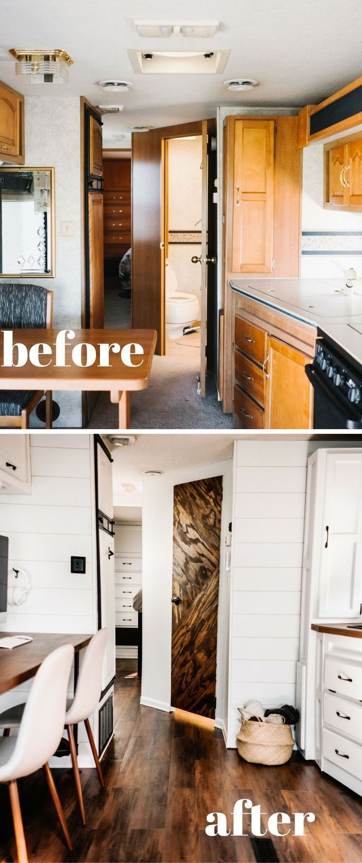 About to start a DIY RV remodel? Learn how other full time RVers did it with tips on budget rv renovations, before and after pictures, LIVE tours and ! #rvcampertips