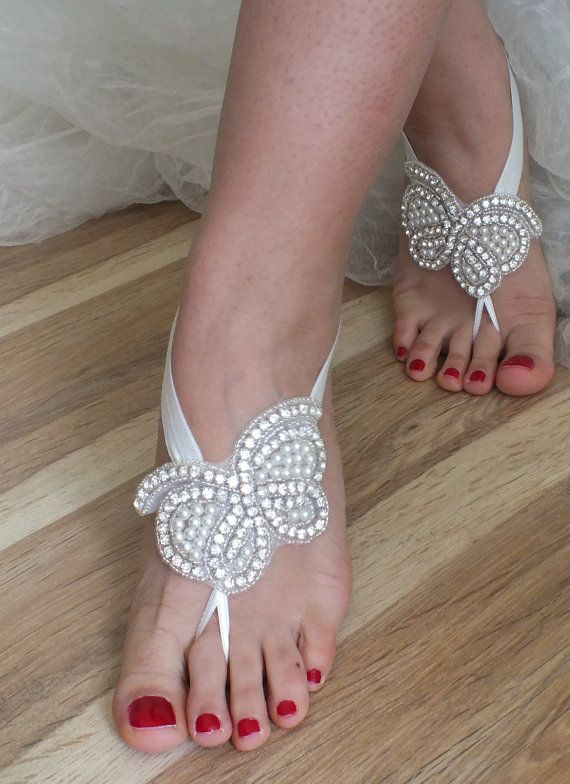 Rhinestone sandals Beach wedding butterfly barefoot sandals,  pearl Barefoot Sandals, Sexy, Yoga, Anklet , Bellydance, Steampunk, Beach Pool