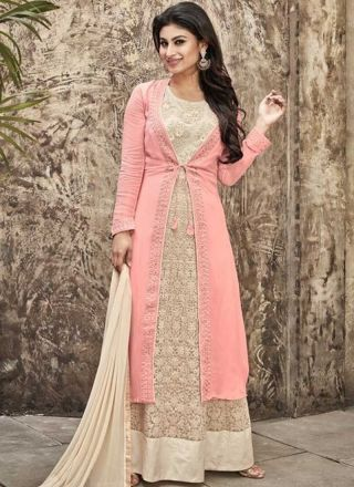 Mouni Roy Pink Beige Embroidery Work  Georgette  Fancy Anarkali Suit  http://www.angelnx.com/Bollywood