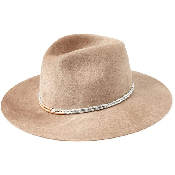 Eugenia Kim Beige Georgina Cord Detail Wool Felt Fedora ($355) ❤ liked on Polyvore featuring accessories, hats, cappelli, wool felt fedora, wide brim hat, crown hat, brimmed hat and beige hat