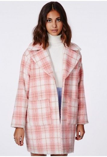 Missguided - Lena Oversize Cocoon Coat Pink Check