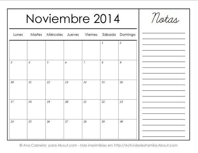 Calendarios imprimibles del 2014 con espacio para notas: Noviembre 2014