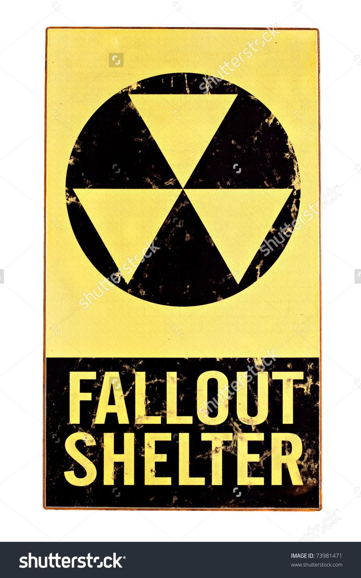 atomic nuclear fallout shelter sign with radiation symbol isolated on white