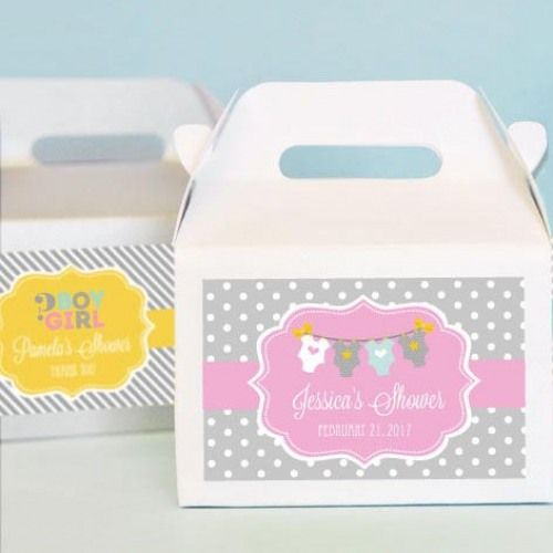 These mini gable favor boxes are ultra cute and are the perfect compliment to your themed baby shower.