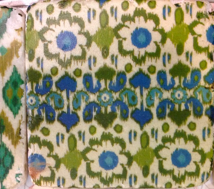 Shabby blue and green flowers - tile style coaster...