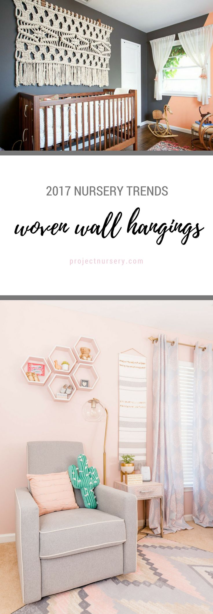 2017 Nursery Trend: Woven Wall Hangings. Boho vibes are still trending strong, but this year our Boho trends have added a punch of glam. What really stands out are the textured wall hangings—woven, macrame, braided, feathers—it doesn't matter. We love them all, and we see this trend continuing in 2017.