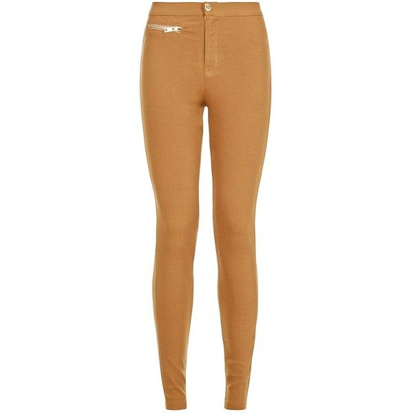 Parisian Camel Zip Waist Leggings ($36) ❤ liked on Polyvore featuring pants, leggings, camel, zipper pants, beige pants, high waisted trousers, ankle length pants and high rise leggings