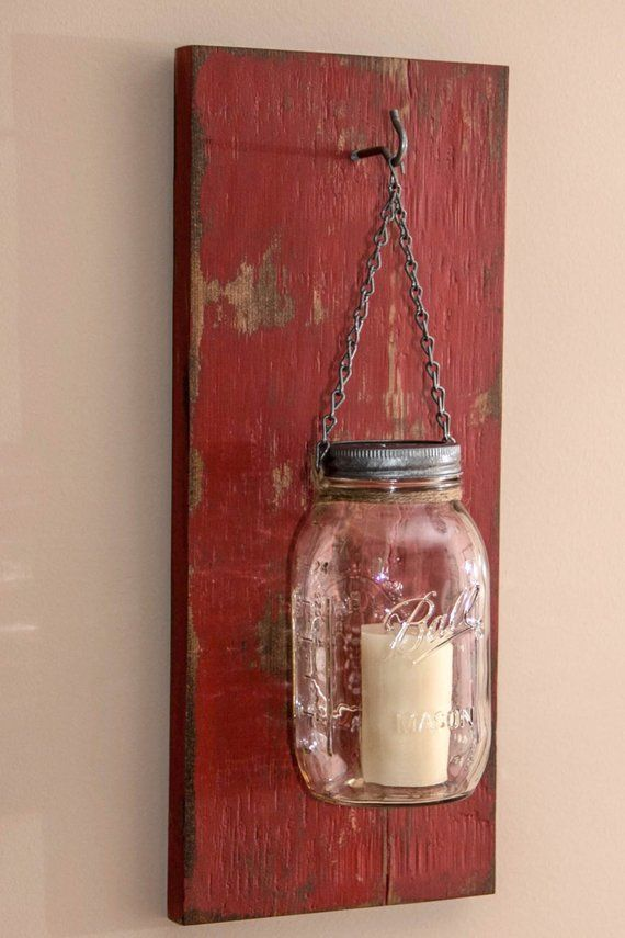 This Rustic And Distressed Red Mason Jar Wall Sconce Is Handcrafted From Rough Cedar Wood One 32 Ounce Chain Hook Twine