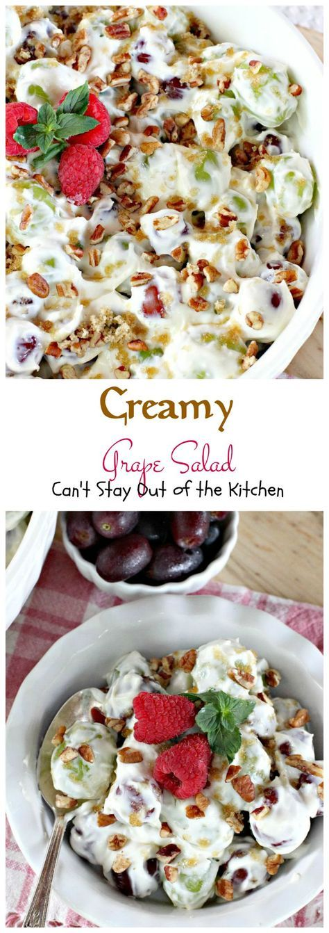 Creamy Grape Salad | Can't Stay Out of the Kitchen | this fabulous #fruit #salad is great for #holidays, picnics or company. Quick and easy. Perfect for #Thanksgiving or #Christmas. #glutenfree #grapes