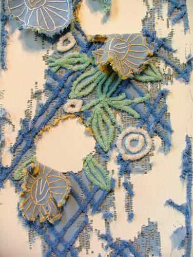 Elana Herzog staples found textiles onto walls using thousands of metal staples…