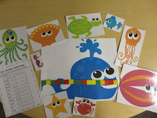 FREE sea creatures and recording sheet to use for measuring