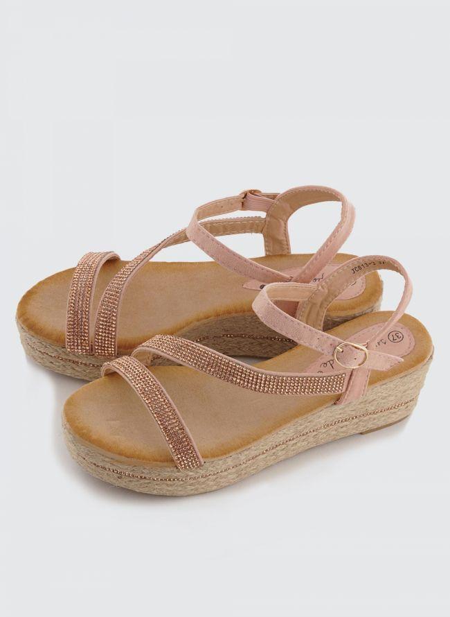 SUEDE ΠΛΑΤΦΟΡΜΕΣ ΜΕ ΣΤΡΑΣ 813/3 - The Fashion Project - Γυναικεία παπούτσια, ρούχα, αξεσουάρ