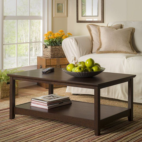 A casual design and clean lines make the Coffee Table a natural addition for your living room. Two top-and-bottom expansive 42W surfaces offer plenty of room for books, magazines, remotes or food and beverages. Sturdy and attractive post-leg design fits both modern and traditional home decor. Mitered tabletop and arched face rails give the coffee table a distinctive look. Durable laminate surface is solid and rugged, resisting nicks, scratches, stains and watermarks. Matches the style and…