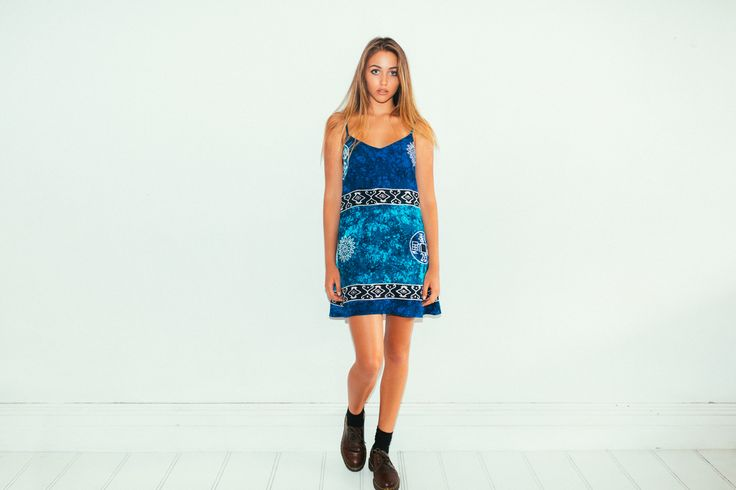 Her Pony Far Out Collection. Blue tie dye batik print festival clothing. Summer style. Harper cami dress.