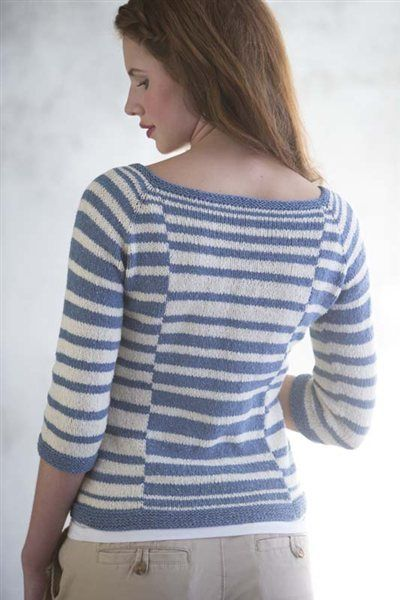 Albers Pullover from Interweave Knits - really liking the interrupted/reversed striping