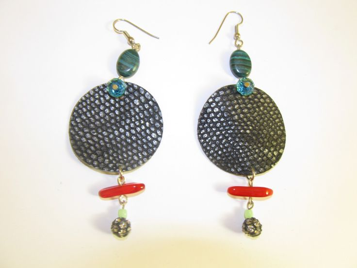 Handmade leather earrings (1 pair)  Made with black/silver leather, semiprecious stones, glass beads and metal bead with crystals.