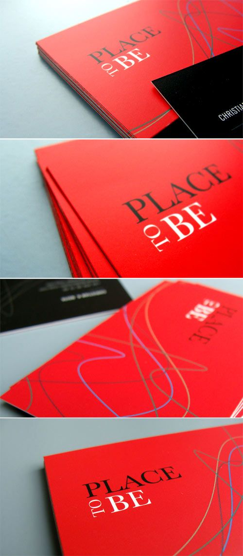 Bold Red Cards - New Business cards for brand PLACE TO BE Magazine. 400g FSC paper. Matte finish.