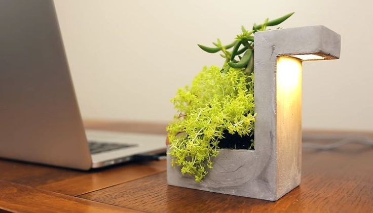 Modern Desk Lamp with LED Light and Planter, Concrete Style, Home or Office Use