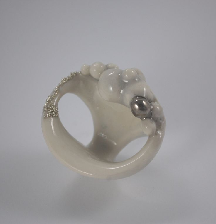 RING PORCELAIN, PLATINUM, STEEL, HANDMADE UNIQUE