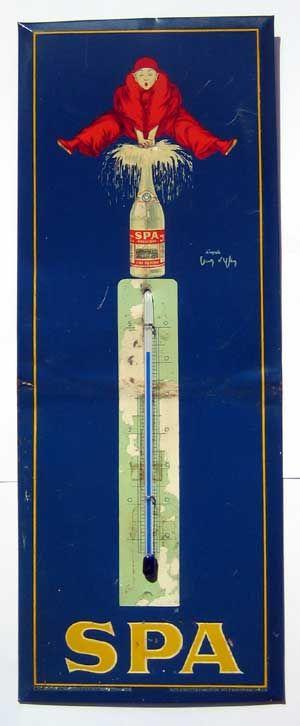Spa schönes Blechschild mit Thermometer, ca. 45 x 15 cm, um 1950 Verkauf: alte Werbung und Reklameobjekte Emailleschilder Blechschilder Emailschilder Werbeschilder