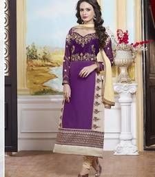 Buy Purple cotton embroidered wedding-salwar-kameez online