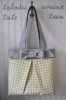"""Box pleat bag tutorial. Love the bow. I don't usually """"do"""" bags --- but I might have to make an exception for this one!"""