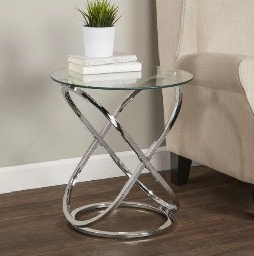 Modern Contemporary Side End Table Glass Top Chrome Glamorous
