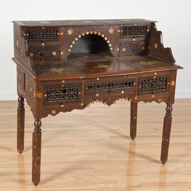 Antique Syrian or Moroccan mother pearl inlaid desk on | Exotic Inlaid  Furniture | Pinterest | Antiques, Moroccan and Furniture - Antique Syrian Or Moroccan Mother Pearl Inlaid Desk On Exotic