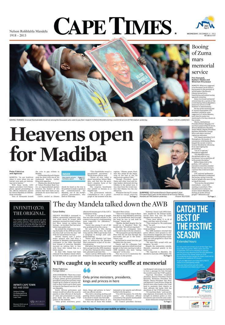 News making headlines: Heavens oped for Madiba