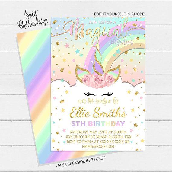 Magical Unicorn Birthday Party Invitation Rainbow Unicorn Party
