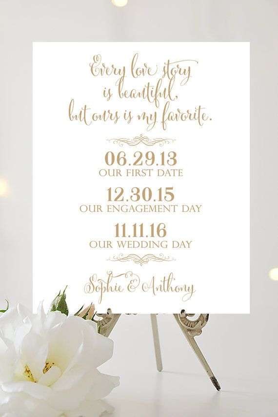 Our Love Story Wedding Sign 8 x 10 or 11 x by CharmingEndeavours