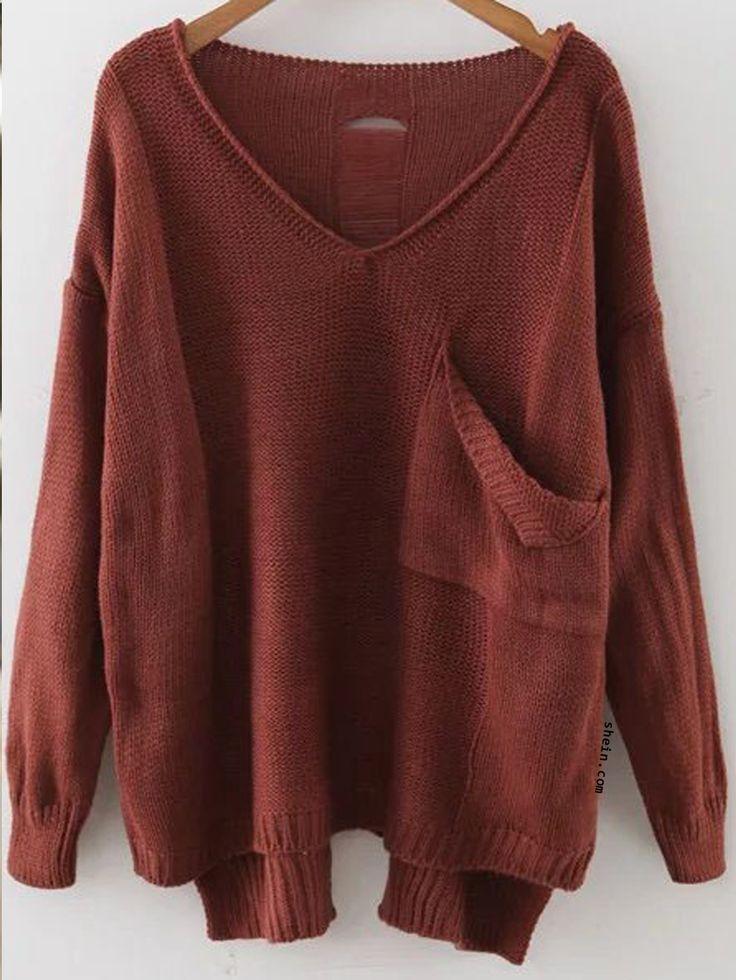 Brown V Neck Drop Shoulder Dip Hem Sweater With Pocket
