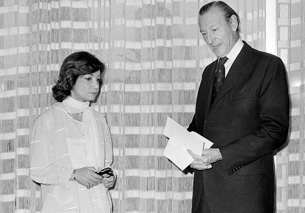 Princess Ashraf Pahlavi  with UN Secretary-General Kurt Waldheim during the 1975 International Women's Year Conference in Mexico City